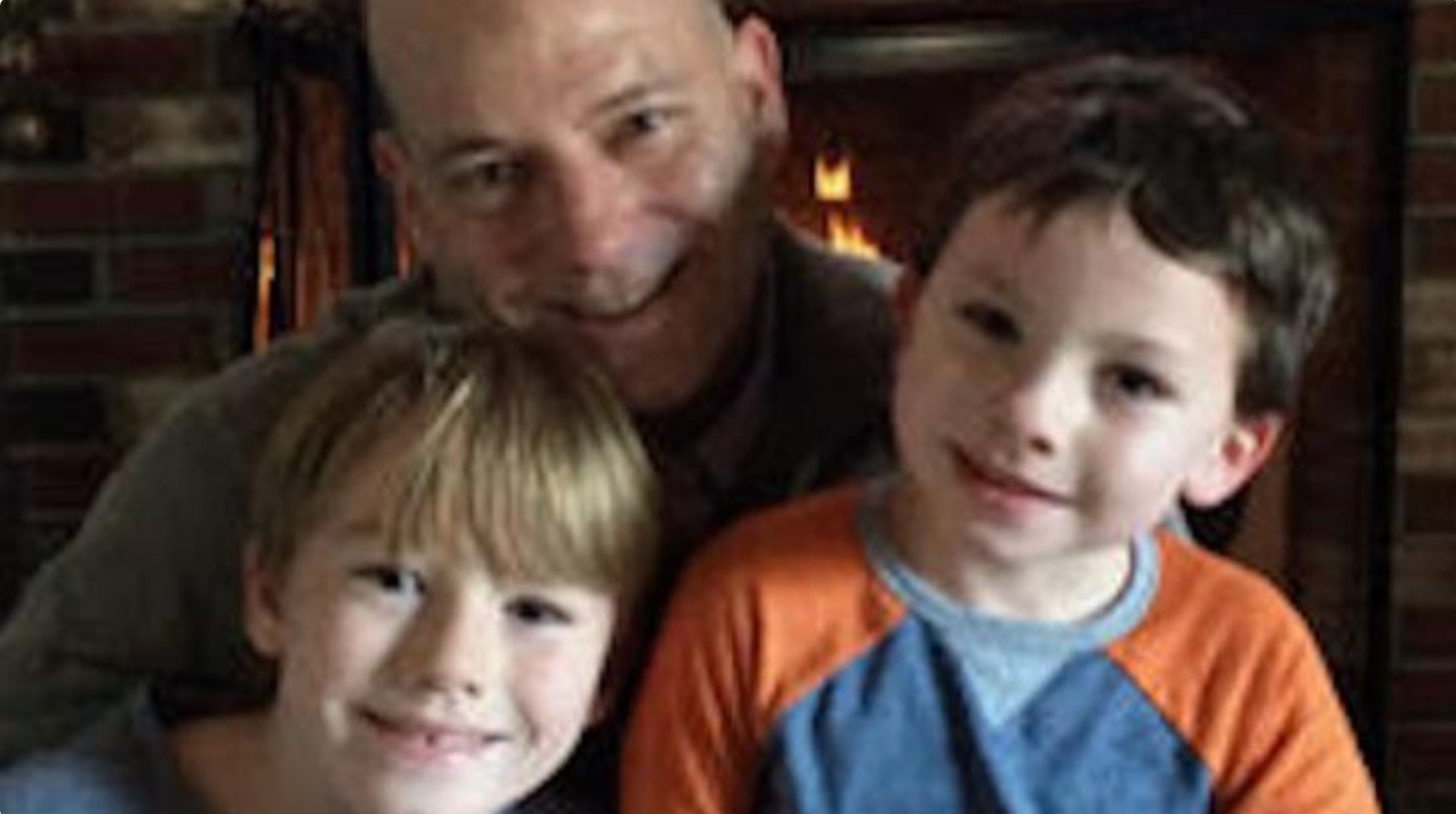 Rory Burrows with his two sons, Rory (11) and Kevin (8)